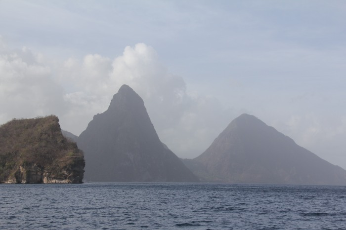 Phenomenal topography.  This is a view leaving St. Lucia.